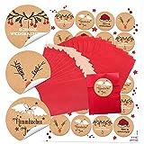 10 rote Papier-Tüten Tütchen Weihnachtstüten (7 x 9 cm) + 24 runde Weihnachts-Aufkleber mit Text 4 cm; schwarz-rot-weiß (14126) Geschenktüten zum Befüllen für Kunden, Mitarbeiter, Freunde