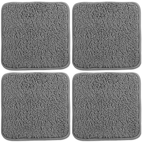 4er Pack Lammflor Stuhlkissen Sitzkissen Polsterkissen 36x36 cm Auswahl: 36x36 cm grau - hellgrau