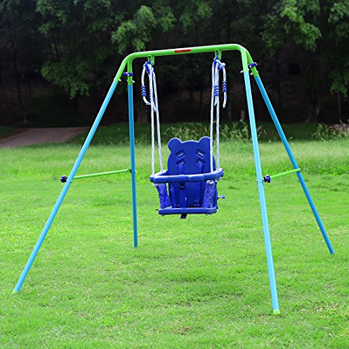 Blue Folding Swing Outdoor Indoor Swing Toddler Swing with safety Baby Seat for baby/chirldren's Gift