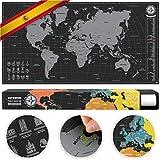 #benehacks mapa del mundo para rascar en CASTELLANO - carta para raspar - plata / negro 84 x 44 cm...
