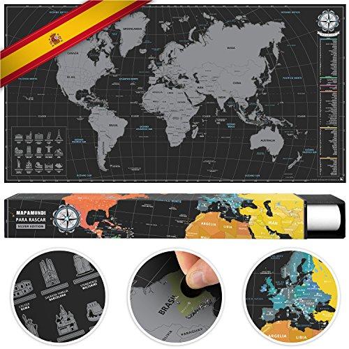#benehacks Mapa del Mundo para rascar en Castellano - Carta para raspar - Plata/Negro 84 x 44 cm Incl. Embalaje de Regalo