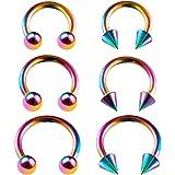KJM Fashion 6 orecchini circolari anodizzati, 1,2 mm, 16 g