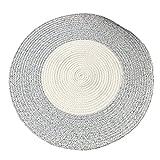 GR Carpet Handgewebte Baumwolle Runde Teppich Einfache Tisch Matte, Runde Geflochtene Matte Kann Gewaschen Werden Teppich (Farbe : Coffee Beige, Größe : D-120cm)