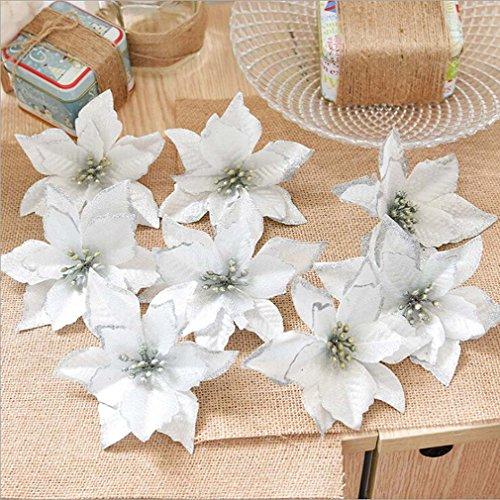 ODN 8 Stück Glitter Künstliche Blumen Baum Kränze Ornament für Hochzeit Weihnachtsdekoration (Silber)