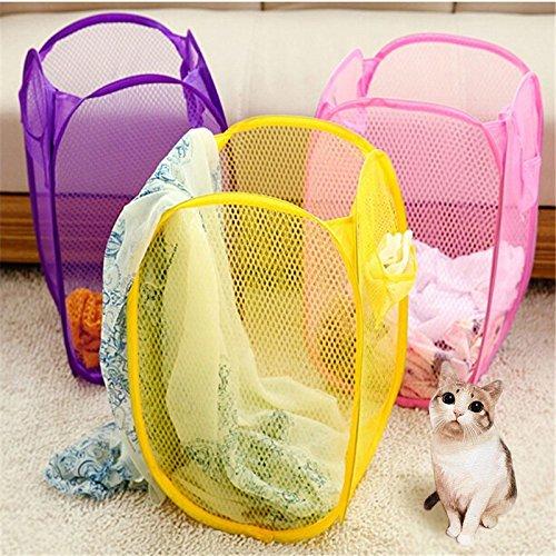 Kicode Pop-up Mesh Wäschekorb Faltbare Basket Lagerung Spielzeug Kleidersack Zufällige Farbe (Lagerbehälter Organisation)