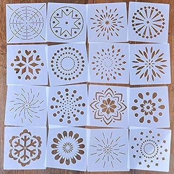 14 x 14 cm // 5,5 x 5,5 Zoll YuChiSX Wiederverwendbare Mandala-Schablonen-Set mit 12 St/ück Airbrush Malen auf Holz Felsen und W/ände Lasergeschnittene Malvorlage Malschablone f/ür DIY Dekor