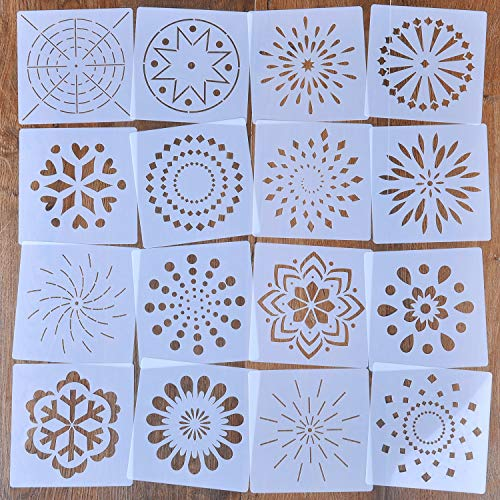 16 Stück Mandala Schablonen Set Mandala Dotting Tools Schablonen Werkzeug für Malerei, Holz, Wand, Möbel, Bodenfliesen, Glasgewebe, wiederverwendbare Airbrush Vorlage