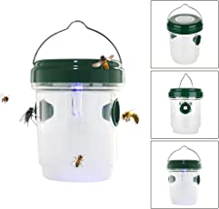 Climberty Wasp Trap Catcher, Life Outdoor Solar Powered Trap with Ultraviolet LED Light for Bees, Wasps, Hornets, Yellow Jackets, Reusable