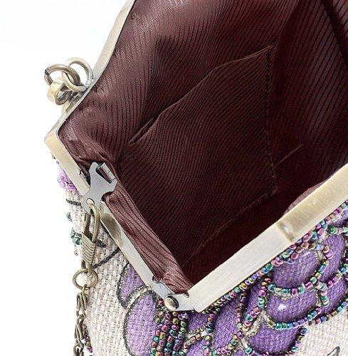 KAXIDY Borsa Pochette Della Borsa Sacchetto Donne Elegante Stile Pastorale Viola
