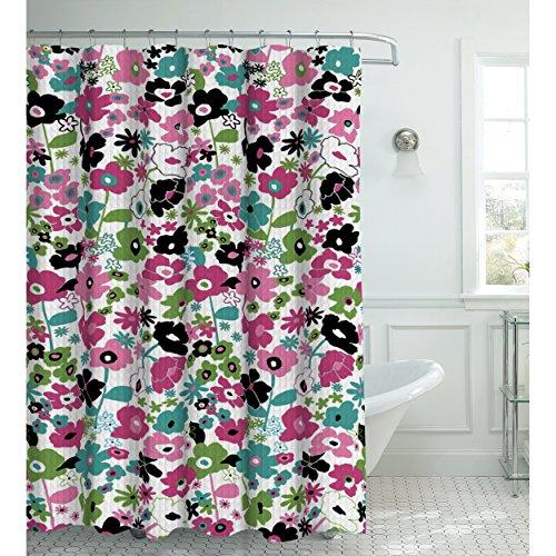 Creative Home Ideen Oxford Weave Strukturierte 13Vorhang für die Dusche mit Metall Roller Haken pink/schwarz Textured Black Metal