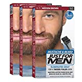 Just for Men Brush In Color Gel, Mustache & Beard, Medium Brown M-35, 1 Kit,