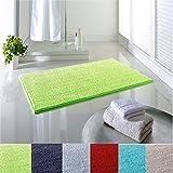 Dreamhome24 Weiche Rutschfeste Absorbierende Badezimmermatte Badematte Chenille Struppige 65x110 Badezimmer Flor Teppich Badteppich, Farbe:Hellgrün