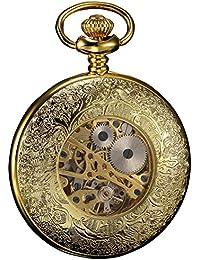 KS Hombre Mujer Reloj De Bolsillo Mecánico Salto Tapa Cadena Steam Punk
