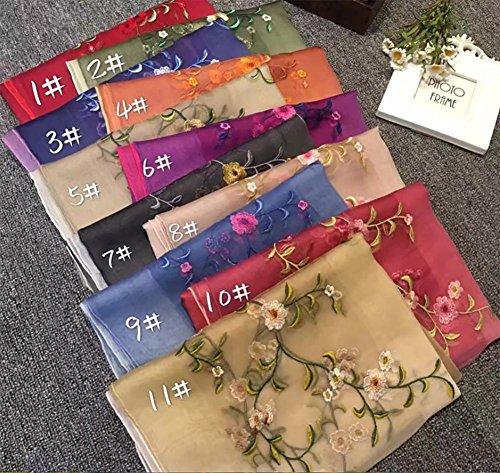 HSDMF sciarpe di seta ricamate delle scialle anti-sole delle signore delle Scarf di seta 100% Quattro stagioni , Rose purple Warm yellow