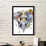 DIYthinker Elefant Gemalt Persönlichkeit Tier Einfacher Bilderrahmen Kunstdrucke Malereien Startseite Wandtattoo Geschenk Small Schwarz