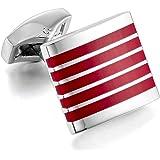 MunkiMix 2 PCS Rodio Resina Gemelli Stripes Strisce Piazza Quadrata Camicia Matrimonio Lavoro 1 Par Set Uomo