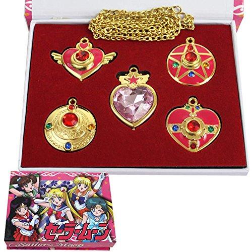 Sailor Moon Halsketten Anhänger Set Cosplay Kostüm (Kostüm Sailor Zubehör Moon)
