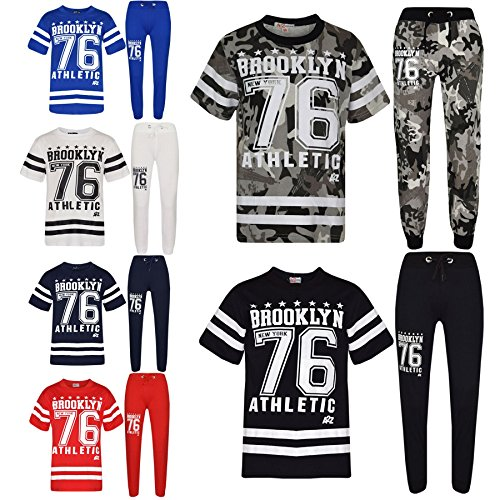 A2Z 4 Kids® Boys Top Kids Designer's Brooklyn New York 76 Athletic Camouflage Print T Shirt Tops & Trouser Set Age 5 6 7 8 9 10 11 12 13 Years
