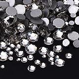 Outus 1000 Stück Klare Flache Rückseite Strasssteine Runde Kristall Edelsteine 1,5 mm - 5 mm, 5 Größen -