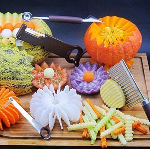 UChic Fancy Fresh Obstteller Edelstahl Multifunktionale Scoop Splitter Carving Messer Set Schneidwerkzeug