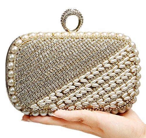 Santimon Damen Handtaschen Perlen Wulstige Glamour Hochzeit Taschen Langkettige Portemonnaies Gold