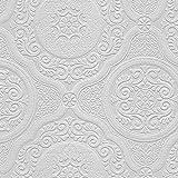 A.S. Création Architectural Inspirations Vinyltapete 30632-1 306321 Ornamente klassisch Medallion weiß Struktur