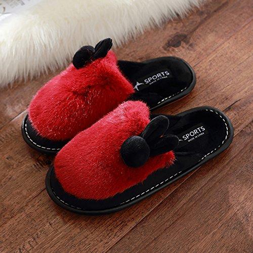 DogHaccd pantofole,Inverno costate di manzo spesse pantofole di peluche femmina soggiorno invernale Piscina home inverno cotone pantofole coppia adorabile Il rosso3