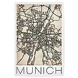 artboxONE Poster 30x20 cm Retro City Map Munich von Künstler David Springmeyer