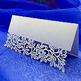 Anself ¡Elegante! 10Pcs Tarjeta de nombre de boda blanco romántico tallado de vid de la flor de tabla de marcos de nombre tarjeta del lugar de la boda del cumpleaños de banquetes fiesta decoración