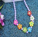 ShireyStore Kinder Halskette Kosmetik Schmuck Kleines Mädchen Sun Flower Runde Beded Halskette Schmuck Sammlungen Charme Perlen Halskette Lila