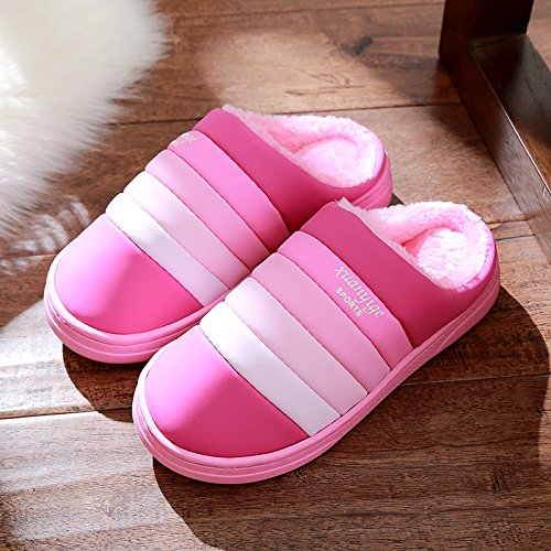 DogHaccd pantofole,Pantofole in pelle impermeabile femmina antiscivolo in cotone invernale pantofole coppie maschio coperta spessa invernale Caldo scarpe Rosa2