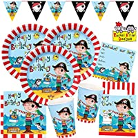 Rachel Ellen 53-teiliges Party-Set Frecher Pirat - Teller Becher Servietten Einladungen Partytüten Wimpelkette für 8 Kinder