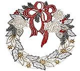 BEZAUBERNDes Fensterbild PLAUENER SPITZE ® 22 cm + Saugnapf Weihnachten Advent KRANZ Schleife rot ADVENT (Rot)