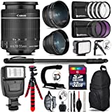 Canon 18-55mm Is STM Lens + Flash + 0.43X Wide Angle Lens + 2.2X Telephoto Lens + LED Kit + Video Stabilizing Handle + UV-CPL-FLD Filters + Macro Filter Kit - International Version