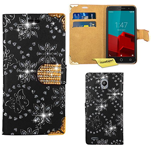vodafone-smart-prime-6-funda-foneexpertr-diamante-bling-wallet-flip-billetera-carcasa-cover-case-fun