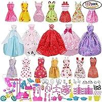 Accesorios muñecas barbie,Accesorios de Vestir para las Muñecas de Barbie, 14pcs Verano Faldas Vestidos +5 pcs vestido de novia +98 accesorio de Barbie