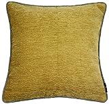 McAlister Textiles Essentials Kollektion | Alston Chenille schlichte zweifarbige Kissenhülle in Ockergelb mit Grau | 60cm x 60cm | Deko Designer Kissenbezug für Sofa, Couch, Sessel, Bett, Kissen
