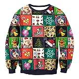 Sannysis Weihnachten Weihnachtspulli Sweater Damen Sweatshirt Pullover Merry Christmas Rentier Weihnachtspullover 3D Lässig Druck Sport Langarmshirt Vergleich