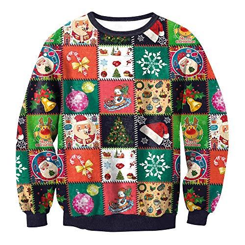 fairtrade bikini Sannysis Weihnachten Weihnachtspulli Sweater Damen Sweatshirt Pullover Merry Christmas Rentier Weihnachtspullover 3D Lässig Druck Sport Langarmshirt