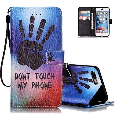 iPhone 7 plus Ledertasche,Flip Schutzhülle für iPhone 7 PLUS 5.5 Zoll, Aeeque® [Hand Sprichwort Muster] Kartenfach Standfunktion mit Schwarz Abnehmbar Handy Lanyard und Weich Silikon Innere Handytasche