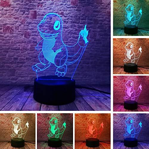 Hot Pokemons Go Game Weihnachten Weihnachten 3D Kleine Fire Dragon Led Nachtlicht 7 Farbe Farbverlauf Led Lampe Schreibtisch Tischleuchte Junge Kind Geschenke - Girls Go Games