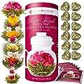 Fleurs de thé Teabloom en forme de cœur – Cartouche cadeau assortiment de 12 fleurs de thé – Thé vert + jasmin, grenade, fraise, rose, litchi et pêche