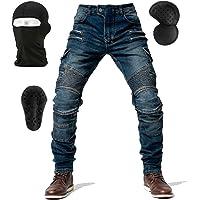 NXSP Pantaloni Da Moto In Denim Da Uomo, Jeans A Gamba Dritta Resistenti Alla Caduta Con 4 Tipi Di Dispositivi Di…