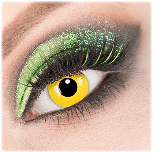 (Giftauge Farblinsen 1 Paar deckend Crazy Fun- Yellow -Kontaktlinsen mit Stärke -4,50 Dioptrin + Behälter von Giftauge. Perfekt zu Halloween, Karneval, Fasching, Fasnacht oder Cosplay und Zombie Kostüme.)