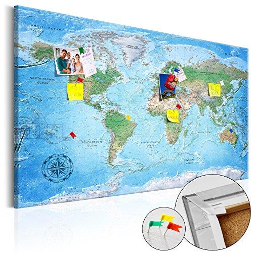 murando Bilder Weltkarte XXL 120x80 cm mit Kork Top Design Wandbild Leinwand Kork Weltkarte - Neue Limited-Edition - Top aktuelle Weltkarte 2017 mit allen Details - 100% Natur-Kork & Holzrahmen, aufgespannt auf Echtes-Holz-Rahmen (Echte Handarbeit) einteilig Pinnwand Welt Karte Kontinent Landkarte k-A-0127-p-a 120x80 cm