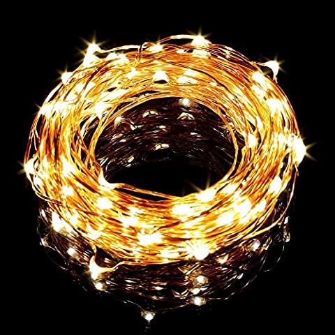 Ollny Waterproof Copper Wire String Lights 100 LED 33ft Starry String Lights Steady on + 12V DC Power for Christmas Wedding Party Home Indoor and Outdoor Decorationa Warm