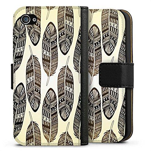 Apple iPhone X Silikon Hülle Case Schutzhülle Federn Tribal Indianer Sideflip Tasche schwarz