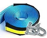 maxineer Eslinga Cuerda de Remolque,Pesada Cable Cuerda para Cinturón Correa de Remolque Coche Remolque Correa de Cuerdas con 2 Grilletes