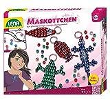 Lena 42015 - Bastelset für 4 Maskottchen, Komplettset für 4 Glücksbringer mit 290 metallicfarbenen Fädelperlen, schwarzem Kordelband, 4 Schlüsselringe und Anleitung, Set für Kinder ab 6 Jahre