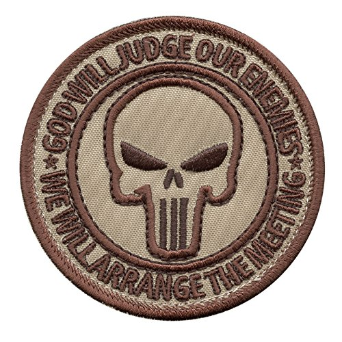 2AFTER1 God Will Judge Our Enemies Desert DCU AOR1 US Navy Seals DEVGRU JSOC Morale Hook-and-Loop Patch (Army Desert Uniform)